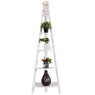 Tangkula 5-Tier Corner Ladder Shelf, Wooden Contemporary Rustic Style Bookshelf