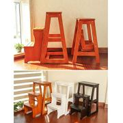 Folding Ladder 3-Tier Step Stool Wood Adult Foldable Bed Steps