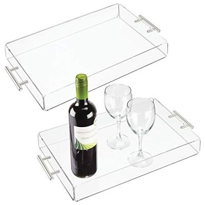 mDesign Modern Acrylic Rectangular Serving Tray with Handles for Food