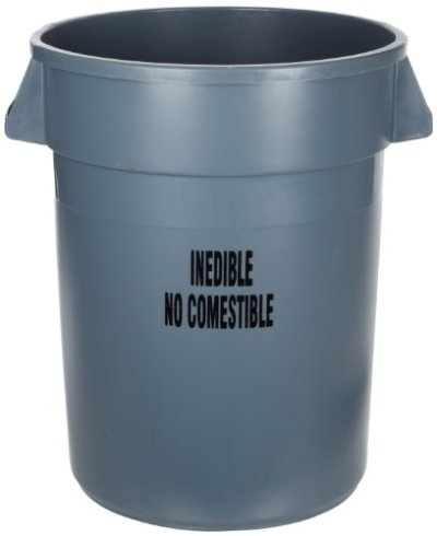 Rubbermaid Commercial Brute Plastic Trash Can without Lid