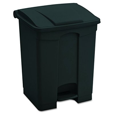 Safco Products Plastic Step-On Trash Can, Black, Hands-free Disposal