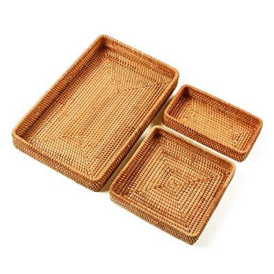 I-lan Set of 3 Handmade Rattan Rectangle Serving Tray Wicker Serving Organizer