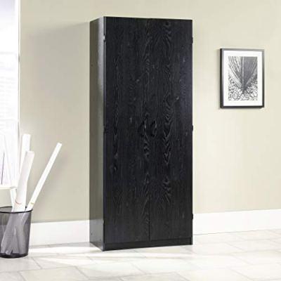 "Sauder Storage Cabinet, L: 29.61"" x W: 16.02"" x H: 71.50"", Ebony Ash finish"