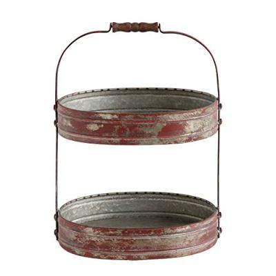 Creative Co-Op Red Metal Oval 2 Tier Tray