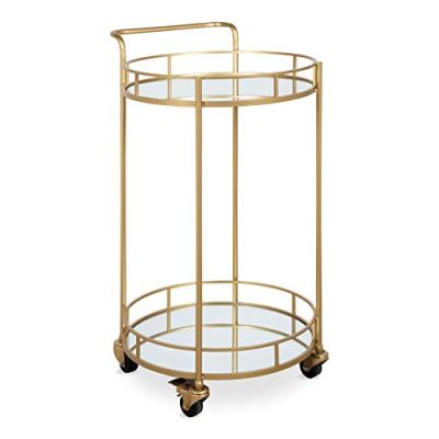 Kate and Laurel Deveaux 2 Shelf Modern-Glam Round Metal and Mirror Rolling