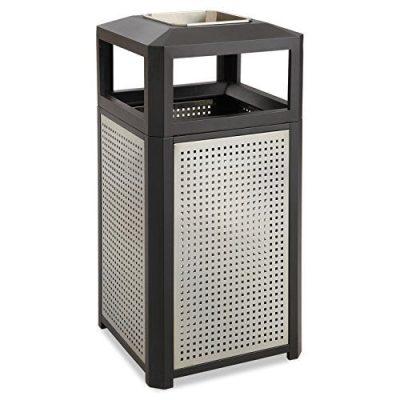 Safco FBA Trash Can, 38 Gallon, Black
