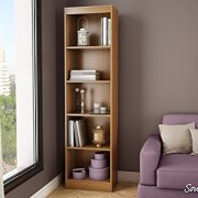 South Shore Narrow 5-Shelf Storage Bookcase