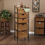 5 Drawer Storage Unit w/ Wicker Baskets - Versatile Tower