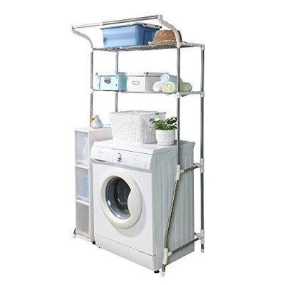 BAOYOUNI 2-Layer Over Washing Machine Storage Rack Utility Metal