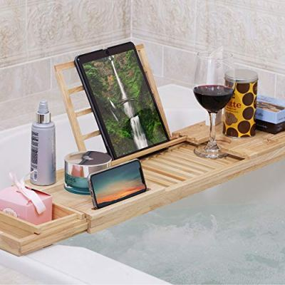 MOMONI Premium Luxury Wood Bathtub Caddy Tray
