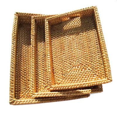 Handmade Rattan Tray With Handles, Handwoven Multi-purpose Storage Basket
