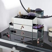 Beautify Large Mirrored Glass Jewelry Box and Cosmetic Makeup Organizer