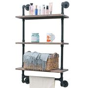 "Industrial Pipe Shelf,Rustic Wall Shelf with Towel Bar,24"" Towel Racks for Bathroom"