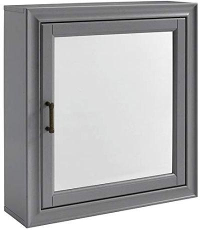 Crosley Furniture Tara Bathroom Mirror Cabinet, Vintage Gray