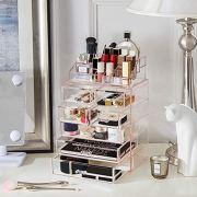 Acrylic Pink Makeup Organizer Cosmetic Drawers Large Plastic