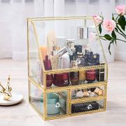 PENGKE X Large Gold Makeup Organizers,Dust Proof Cosmetic and Jewelry Storage