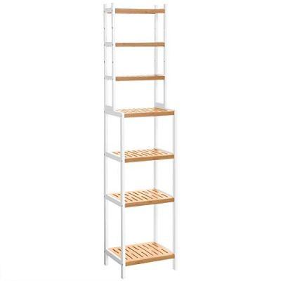 SONGMICS 7-Tier Bamboo Bathroom Shelf, Adjustable Storage Rack