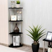 Tangkula 4-Tier Corner Shelf, Light Duty Storage Shelf, Living Room Display Stand