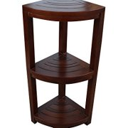 ALATEAK Corner Teak Wood Bath Spa Shower Stool Corner Shelf Storage