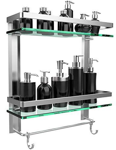 GeekDigg Bathroom Shelf, Durable Aluminum with 2 Tiers Tempered Glass