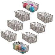 mDesign Farmhouse Decor Metal Wire Bathroom Organizer Storage Bin Basket