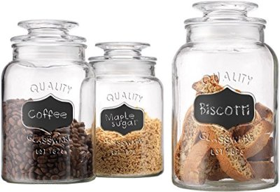 Home Essentials Quality Canister, Clear Glass, Chalkboard Jar