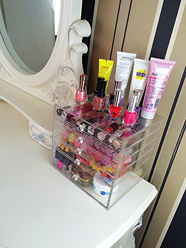 Cq acrylic Large 5 Drawers Makeup Organizer and Acrylic Cosmetics Storage Cases