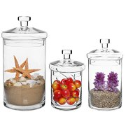 MyGift Set of 3 Clear Glass Kitchen & Bath Storage Canisters/Decorative