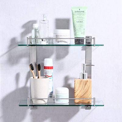 KES Bathroom Lavatory Double Glass Shelf Wall Mount, Rustproof Brushed