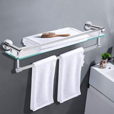 Fine Bathroom Lavatory Glass Shelf with Towel Bar and Rail Wall Mount
