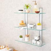 Danya B. Bathroom Shelving Unit - Decorative Wall-Mount 3-Tier Adjustable Glass