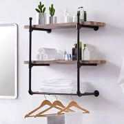 Homissue 3 Shelf Pipe Floating Wall Shelf, Vintage Industrial Wall Mounted Shelf