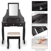 Amooly Vanity Set with Mirror Removable Makeup Organizer