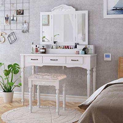HOMECHO Makeup Vanity Table Set, Removable Tri-Folding Mirror