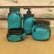 Rustic Turquoise and Black Mason Jar Desk Organizer