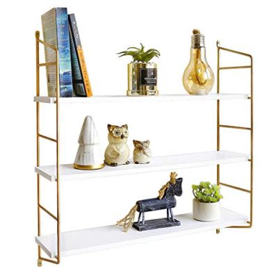 BOLUO White Floating Shelves 24 Inch 3 Tier Gold Wall Shelf for Bedroom