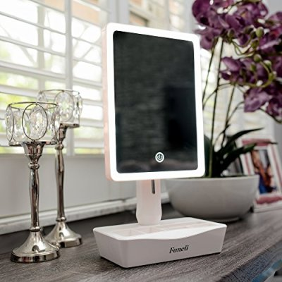 Fancii LED Lighted Large Vanity Makeup Mirror with 10X Magnifying Mirror