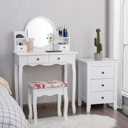 CHARMAID Vanity Set with 4 Storage Shelves and 4 Drawers