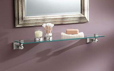 Moen Retreat 22-Inch Wide x 5-Inch Deep Decorative Glass Bathroom Vanity Shelf