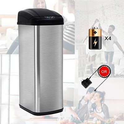 Stainless Steel Trash Can 13 Gallon Garbage Can for Kitchen Touchless Trash Can