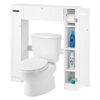 kealive Over-The-Toilet Storage Cabinet Toilet Cabinet Organizer with 2 Side Doors, Paper Holder and Adjustable Shelves, Bathroom Freestanding Spacesaver, 34.3L x 7.1W x 38.6in H, White