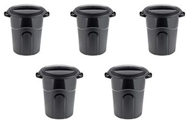 United Solutions Outdoor Trash Can, 20 Gallon, Black, Pack of 5