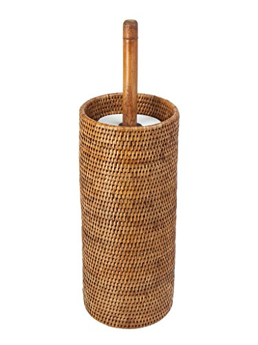 KOUBOO 3 Rolls La Jolla Hand Woven Rattan Toilet Roll Stand, Honey Brown