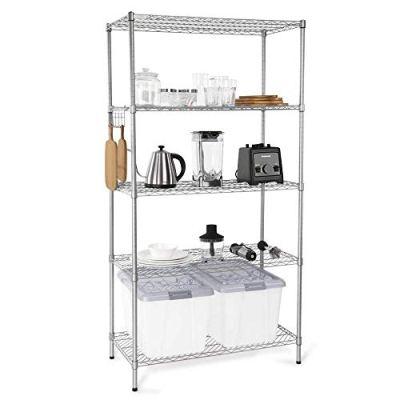 5-Tier Wire Shelving Unit, Adjustable Steel Storage Shelves