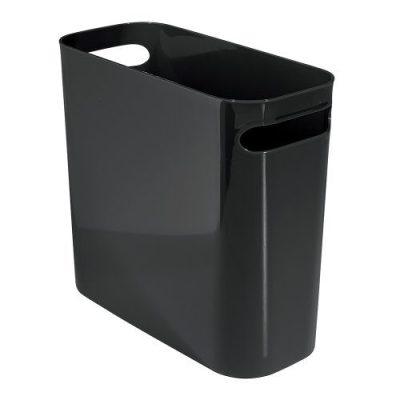 iDesign Una Rectangular Trash Handles, Waste Basket Garbage Can for Bathroom