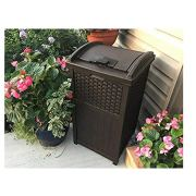 30 Gallon Trash Can, Outdoor Resin Wicker Tall Waste Basket with Lid