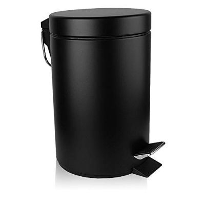 H+LUX Mini Trash Can with Lid Soft Close, Round Bathroom Trash Can