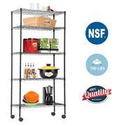 5-TierWireShelvingUnit Steel Large Metal Shelf Organizer Garage Storage