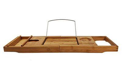 AJZGF Workspace Organizer Solid Wood Bathtub Tray, Reading Rack