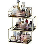 Spacious 3Layer Stackable Glass Perfume Tray/3 Tirer Gold Black Mirror